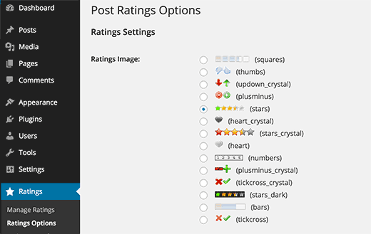 WP Post Ratings settings page
