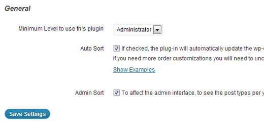 Post Types Order plugin settings
