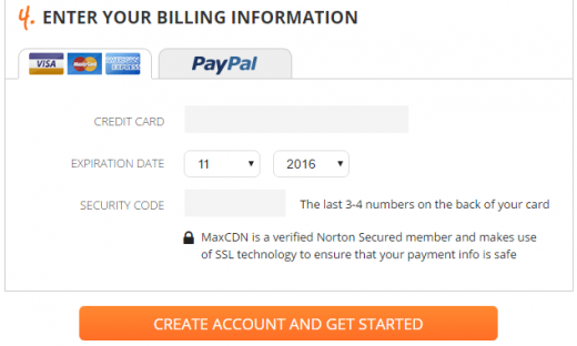Enter your MaxCDN billing information