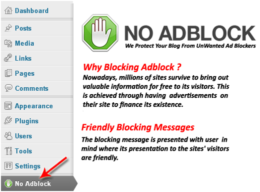 No Adblock for WordPress