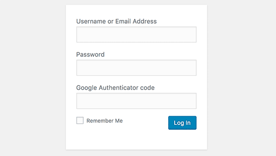 WordPress login screen with Google Authenticator enabled