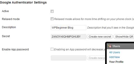Google Authenticator WordPress Settings
