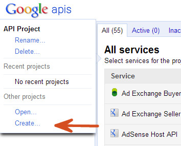 Create Google API Project