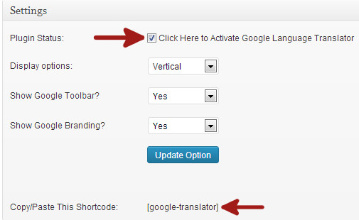 Google language translator plugin settings