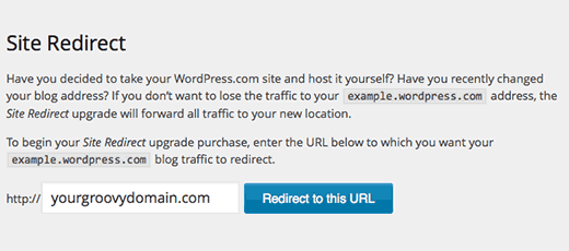 WordPress.com site redirect