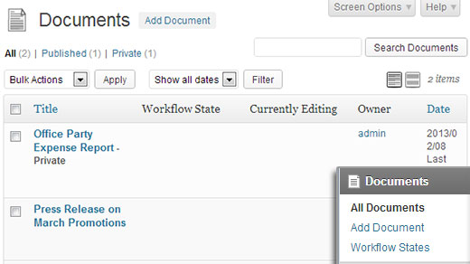 WordPress Document Revisions List View