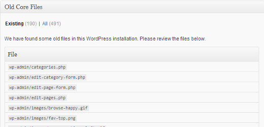 Listing old WordPress core files