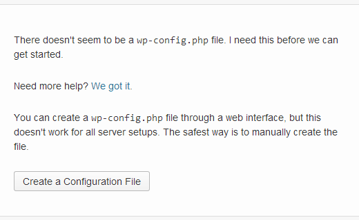Create wordpress configuration wp-config file