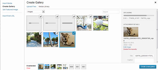 Uploading images to create a gallery in WordPress