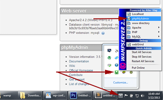 launching phpMyAdmin in Wamp