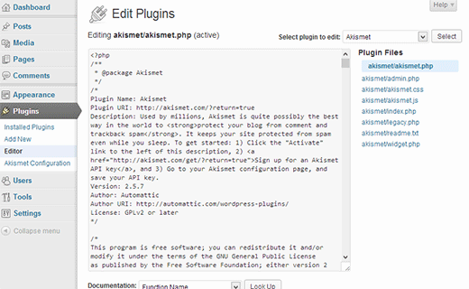 Plugin editor in WordPress
