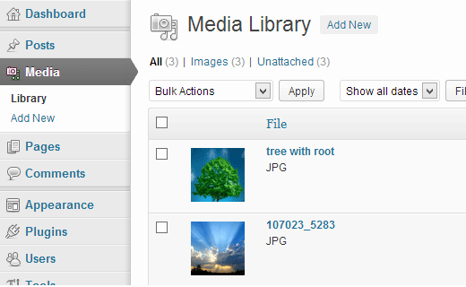 WordPress Media Settings Screen