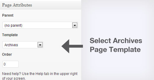 Select Archives Page Template in WordPress