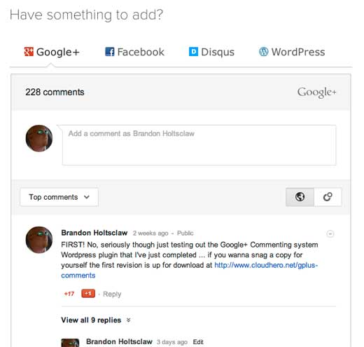 Google+ Comments Demo