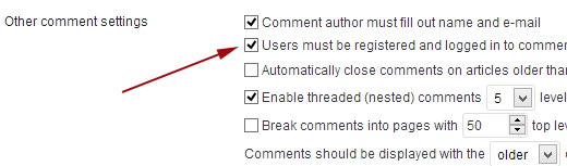 Allow only registered users to comment on your Website