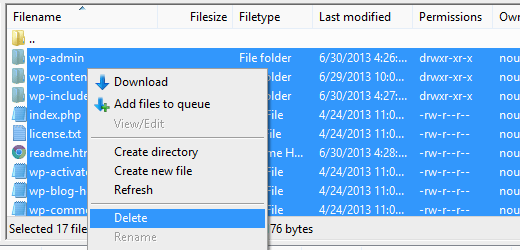 Deleting files using FTP