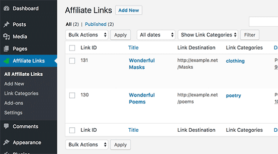 Managing thirsty affiliate links