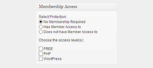 Member access box in post and page edit area