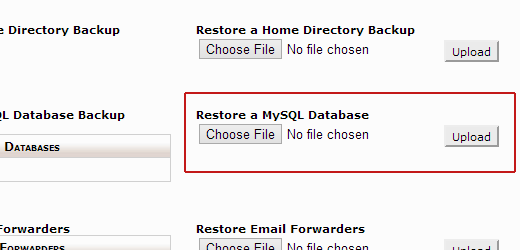 Restoring MySQL database backup in cPanel
