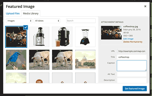 Setting a featured image in WordPress