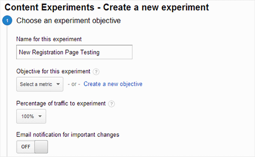 Setting up A/B testing or content experiments in Google Analytics