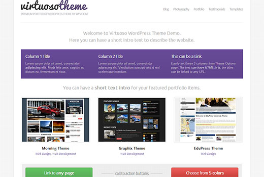 Virtuoso a WordPress portfolio theme