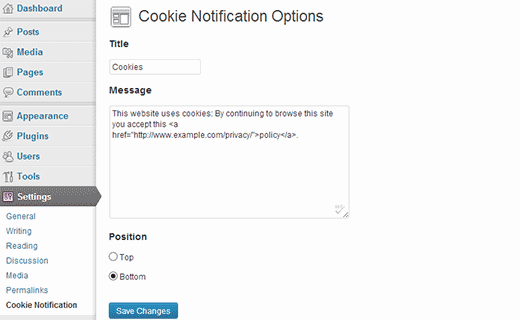 Cookie notification settings page