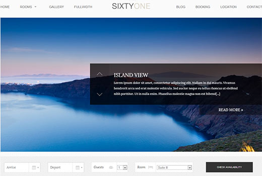 SixtyOne Hotel Theme for WordPress by cssIgniter