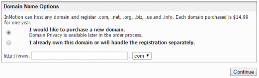Type in your InMotion Hosting domain