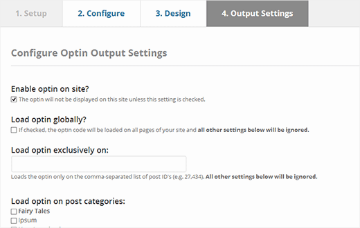Manage where to display the optin on your WordPress site