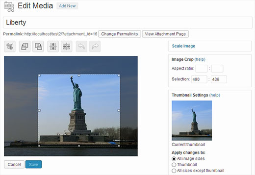 Scale or Crop an Image with in WordPress