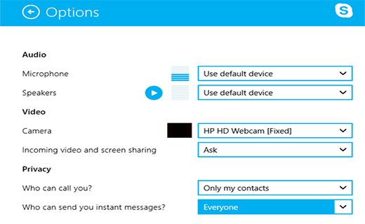 Skype Options in Windows 8