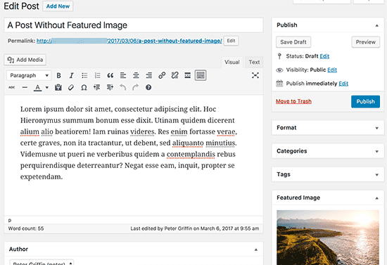 A user can publish post after adding a featured image