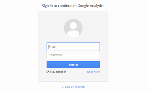 Step 1 for Google Anayltics Signup