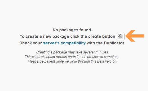 Create a new package in the Duplicator plugin
