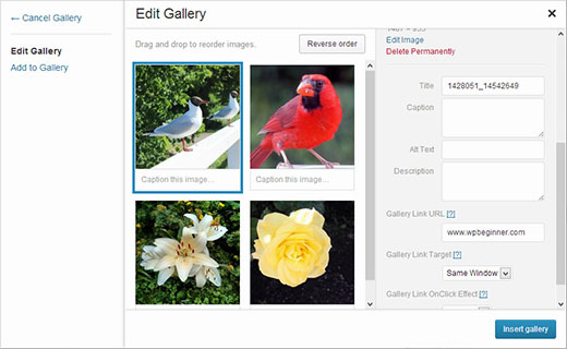 Adding custom link to gallery images in WordPress