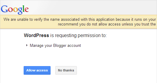 Allow WordPress access to your Blogger account