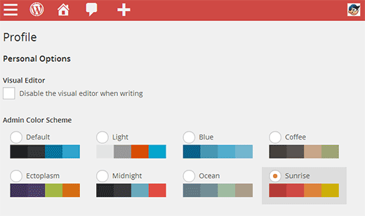 Default admin color schemes in WordPress 3.8