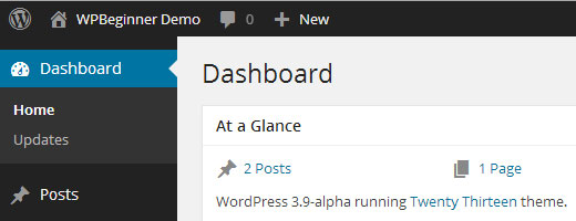 WordPress 3.8 Dark Theme