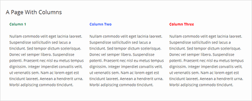 Coulmns in a WordPress Page