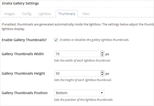 Configure thumbnail options