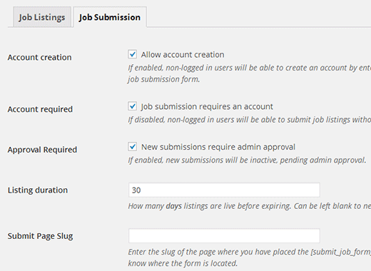 Configuring jobs submission settings