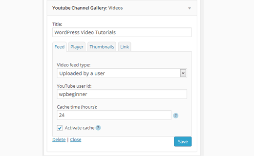 Configuring YouTube Widget Settings