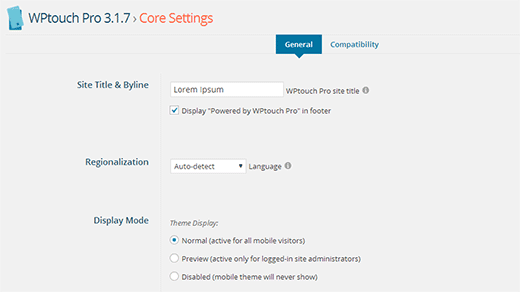 WPTouch Pro Core Settings