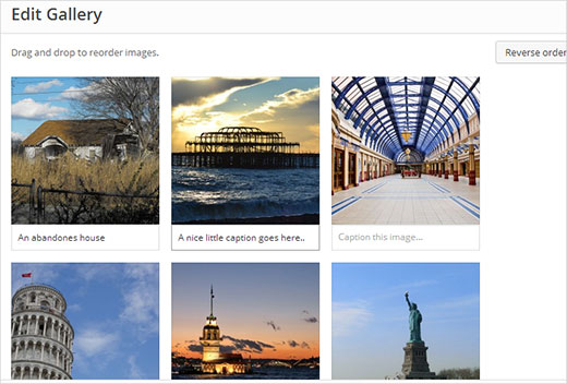 Adding captions to gallery images in WordPress