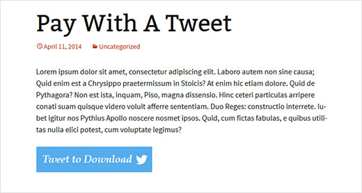 Pay with a Tweet preview  - paywithtweet preview - Add Pay With a Tweet Button for File Downloads in WordPress