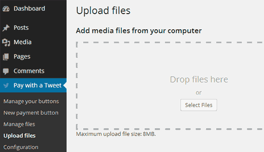 Pay with a Tweet - Upload files  - pwt uploadfiles - Add Pay With a Tweet Button for File Downloads in WordPress
