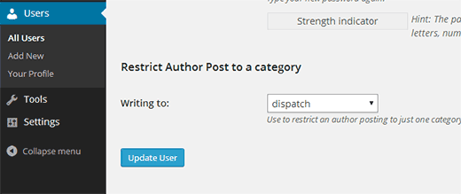 Restricting an author to a category  - restrictauthorcategory - Restrict Authors to Specific Category in WordPress
