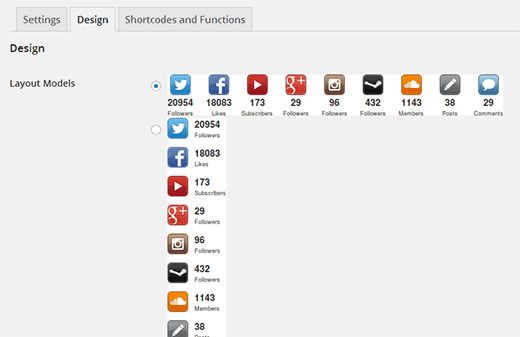 Choose a button design and style for your social media follower count buttons