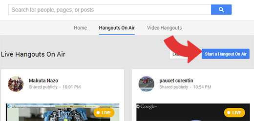 Starting a Google+ Hangout On Air